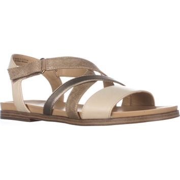 naturalizer Kandy Flat Strappy Sandals, Beige, 9 US / 39 EU