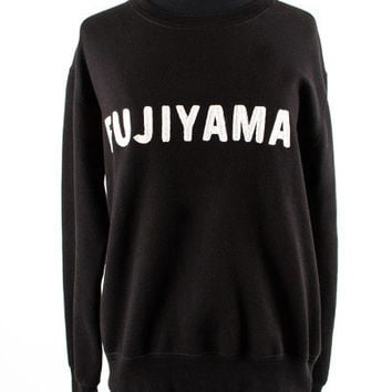 Black Sweatshirt with White FUJIYAMA Letters