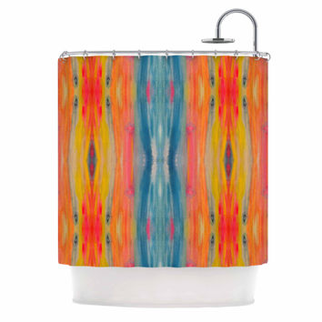 "Nika Martinez ""Boho Tie Dye"" Teal Orange Shower Curtain"