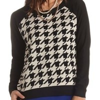 Raglan Houndstooth Sweater by Charlotte Russe - Black Combo