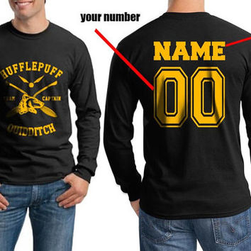 Custom Back name and number, Hufflepuff Quidditch team Captain on Longsleeve MEN tee