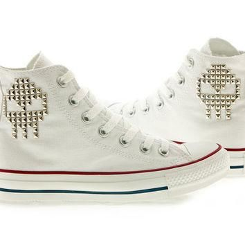 Studded Converse High Top Skull by CUSTOMDUO