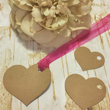 30 Heart Brown Kraft Blank Gift Tags with Pink Organza Ribbon, 3 Sizes, Valentine's Day, Jar Labels, Etsy Seller Tags