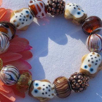 Brown Owl Bracelet , Glass Beaded Bracelet, Woman's Jewelry