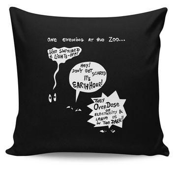 Zoo Animal Conversation During Earth Hour Cushion Cover