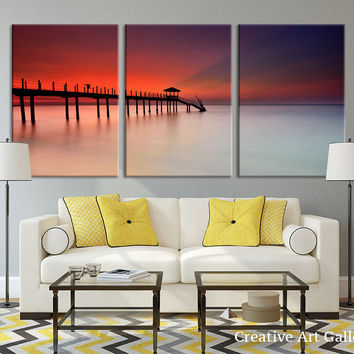 Beach Wall Decor -  Canvas Print Sunset and Wood Pier in Sea, 3 Panel Seascape Canvas Print, Triptych Art Red Sunset Large Wall Art Print