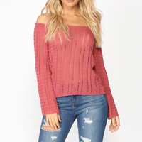 Essence Cold Shoulder Sweater - Marsala