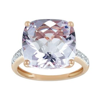 14k Rose Gold Pink Amethyst & Diamond Accent Ring