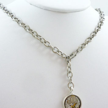 Industrial SteamPunk Necklace with vintage Waltham Watch Movement