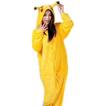 Anime Cosplay Pokemon Pikachu Sleepwear Regino Knitting Adult Footed Girls Pajamas 2015 Carnival Halloween Costume for Women 2XL