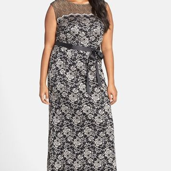Plus Size Women's Alex Evenings Belted Illusion Yoke Lace Long A-Line Dress,