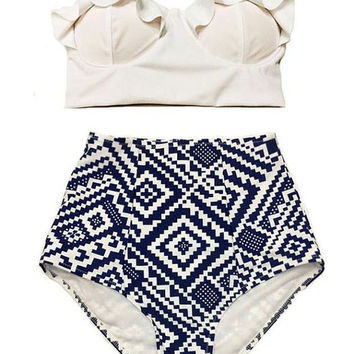 High Waist Tribal Print Swimsuit