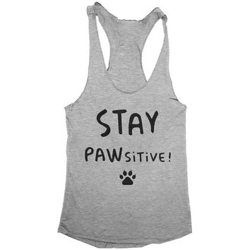 stay pawsitive Racerback tank top womens ladies girls cat cats funny cute kitty kitten gift fitness workout gym