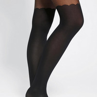 Urban Outfitters - Scallop Faux Thigh-High Tight
