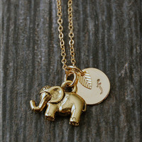 Gold Elephant Necklace, Initial Charm Necklace, Personalized Necklace, Lucky Elephant Charm Necklace, Articulating Trunk Elephant pendant,