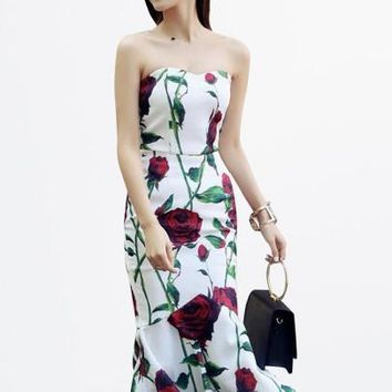 Floral Print Strapless Mermaid Women's Bodycon Dress