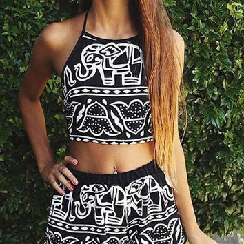 Cute Black Elephant Halter Crop Top with High Waist Shorts