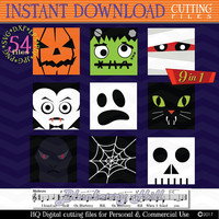 Halloween Monster Face svg - Halloween Monster icons SVG  cutting files - Halloween svg digital  - Svg - Dxf- Eps - JPG - PNG