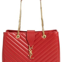 Women's Saint Laurent 'Cassandre - Lisse' Shopper - Burgundy