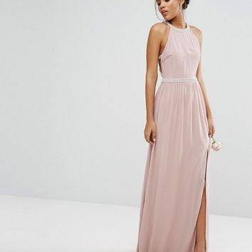 TFNC Tall Wedding Embellished Maxi Dress With Jewel Strappy Back at asos.com