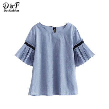 Dotfashion 2016 Newest Blue Bell Sleeve Self-Tie Bow Back Vertical Striped Shirt Ladies Round Neck Loose Cute Blouse
