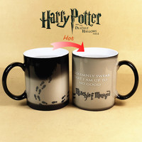 Drop shipping Harry Potter Mug Color Changing Cup,Mischief Managed /Platform 9 and 3/4  Magic Coffee Cup,Sensitive Ceramic Mug
