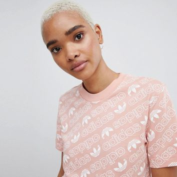 adidas Originals Trefoil Print T-Shirt In Pink at asos.com