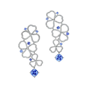 Tiffany & Co. - Tiffany Paper Flowers™:Diamond and Tanzanite Open<br>Drop Earrings