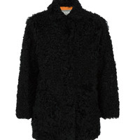 Yves Salomon Kalgan Lamb Coat - Black Long Sleeve Coat