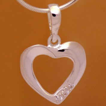 Gently Sterling Silver Cubic Zirconia Heart Pendant 925 Hallmark Cute Charming Lovely Design Handmade Handcrafted Amazing Elegant Beautiful