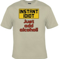 Guys DRINKING Tee, Idiot Funny Alcohol Graphic Tee, Great Gift For Guys and Girls