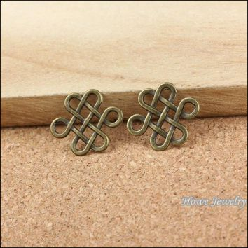 96 pcs quality Antique bronze Hollow Chinese knot Pendant Alloy DIY Fashion charm Bracelet Necklace Jewelry Accessories 10098