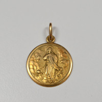 Vintage 750 18k Gold Religious Medal Italian 3 g Signed 750 1 AR Italian Gold Jewelry