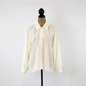 90s Dressy White Blouse Long Sleeve Button Up Blouse Embroidered Blouse Medium Large Vintage Clothing Womens Clothing