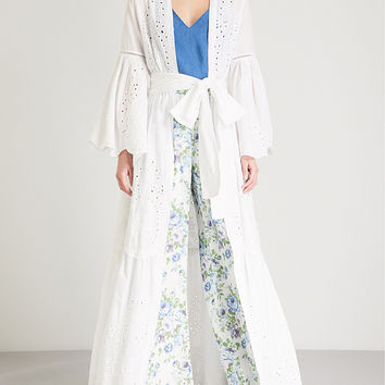 WE ARE LEONE Broderie anglaise cotton maxi jacket
