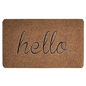 BIGA Embroidered Entry Way Indoor and Outdoor Mat with Funny Quotes Hello Non-slip Backing Floor Mat Entrance Rug Indoor Mat, 18X30 Inch, Brown - Hello