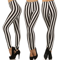 New High Waist Striped Leggings Black White Skinny Jail Stretch Trouser Pants