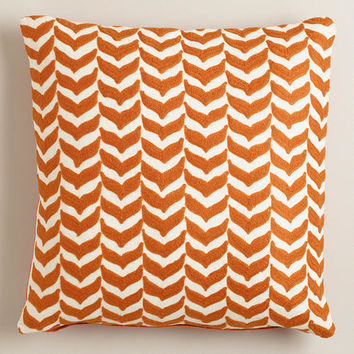 Orange Embroidered Geometric Throw Pillow - World Market