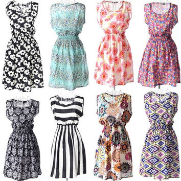 New Brand 2015 Summer Women Casual Print Sleeveless Dress Chiffon stripe / floral print Elastic Waist Bohemian Beach Dresses = 1928580676