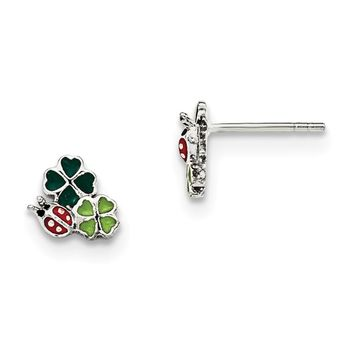 Sterling Silver Enamel Ladybug And Clovers Kid's Post Earrings