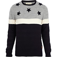 River Island MensNavy stars and stripes sweater