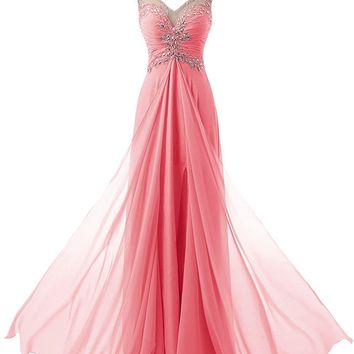 Fashion Plaza Women Long Cap Sleeves V Neck Appliques Prom Gown Dresses Backless Dress