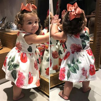 US Boutique Newborn Baby Girls Princess Flowers Sleeveless Dress Clothes Summer