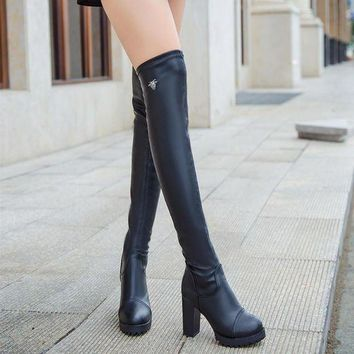 DCK7YE Black Elastic Over Knee Chunky Heel Boots