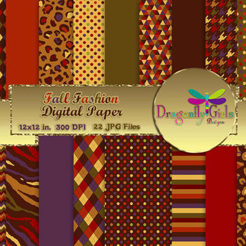 80% OFF Sale Fall Fashion, digital paper, commercial use, scrapbook papers, background, Zebra Leopard Houndstooth Chevron Dots Argyle Autumn