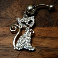 Rhinestone Kitty Kat Belly Button Ring