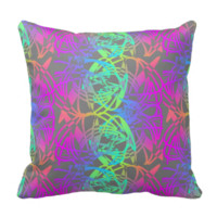Modern Colorful Abstract Glow Patterned Pillow