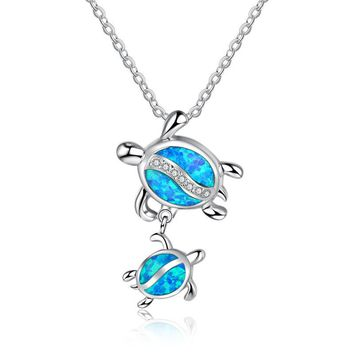 New Fashion Cute Silver Crystal Blue Opal Mom Turtle With Baby  Pendant Necklace Forever Love Animal Jewelry Mother's Day  Gift