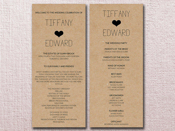 Kraft Wedding Program Template Download  From Paintthedaydesigns