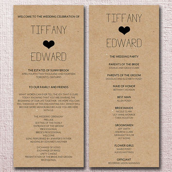 kraft wedding program template download diy typography heart ceremony program for th